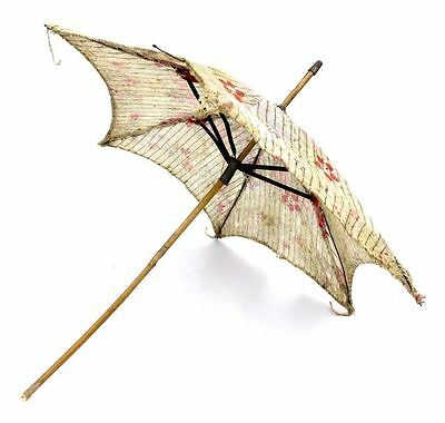 Antique Vintage Victorian  Doll Parasol / Umbrella Floral Print Needs Repair