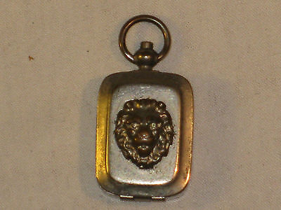 Antique Lion Head Fob Ink Stamp Case Silver Plated