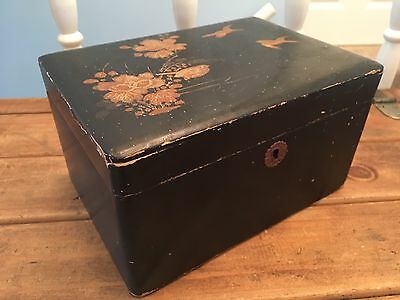 Japanese Style Black Lacquered Jewellery Sewing Box Gold Bird Flower Design
