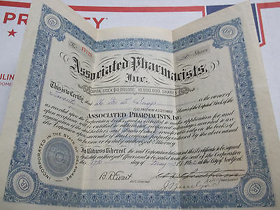 Associated Pharmacists Inc. 20 Shares Stock Certificate May 17,1922 New York