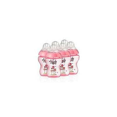 Tommee Tippee 42256110 Closer To Nature Decorated Baby Bottle 6 Pack Pink - New