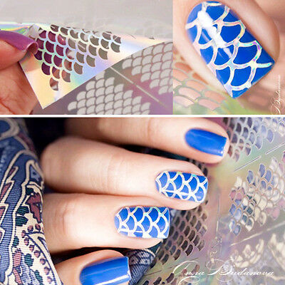 Nail Art Vinyl Stencil Guide Sticker Manicure Stencil Stickers Hollow 3D Mermaid
