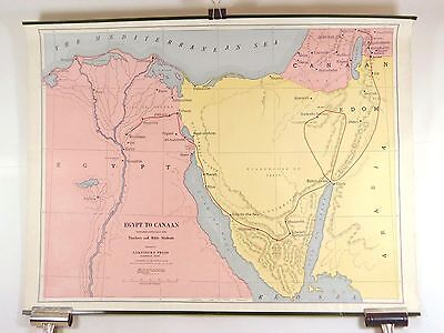 Vintage Canvas Map EGYPT TO CANAAN Bible Route Cokesbury Press ©1910
