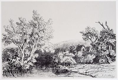 Edwin Toovey (1826-1906). Lithograph landscape. 19th century. V&A, British.