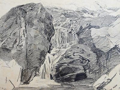 Edwin Toovey (1826-1906). Drawing rocky river waterfall. 19th century. V&A.