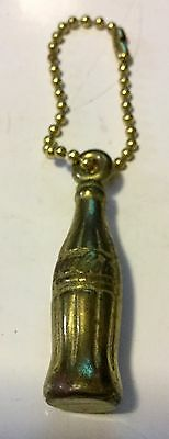 Vintage Advertising Coca Cola Bottle Keychain Gold Tone