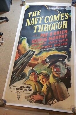 1942 WWII The Navy Comes Through Movie Poster HUGE Linen Pat O'Brien Three Sheet