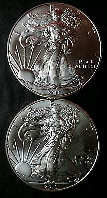 Two 2016 $1 American Silver Eagle Dollars