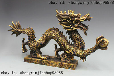 Huge China Bronze copper Feng shui Wealth Coin Money Dragon statue Sculpture
