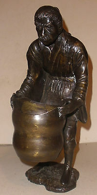 "Nice vintage 12"" bronze sculpture Asian man with basket Chinese Japanese"