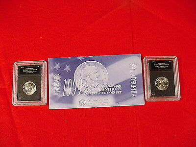 1999 Susan B. Anthony U.S. Mint Uncirculated Coin Set +1979 & 1999 BU Dollars