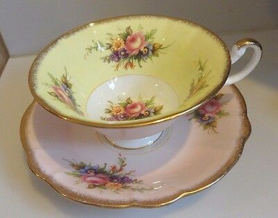 Vintage Foley Bone China Pastel Yellow & Pink Floral Bouquet Cup and Saucer