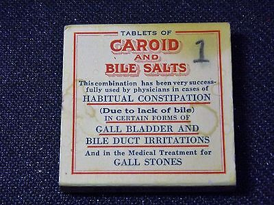 "Vintage Physician's Sample Box of ""Caroid and Bile Salts"""