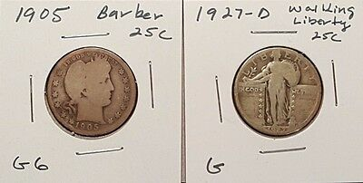 1905 Barber and 1927-D Standing Liberty Quarters - Better Date Lot