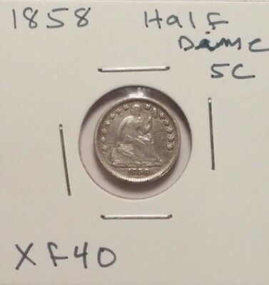 1858 H10C Liberty Seated Half Dime - Really Nice eXtremely Fine coin.