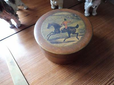 Antique Treen Pot  Lid has Hunting Scene  Horse Hounds Picture  Trinkets
