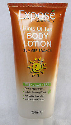 2 x Expose Body Lotion Summer Bronze No Streak Fake Tan Aloe Vera Hints of Tan