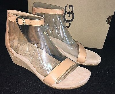 UGG Emilia Wedge Ankle Strap SANDALS multiple sz Natural Leather Suede Cork