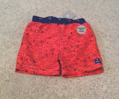 Baby Boys Sea Life Swimming Shorts With integrated Swim Nappy 12-18 Mth BNWT