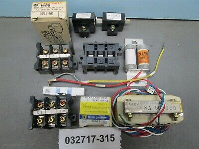 Lot of 10 Mixed, Coils, Terminal blocks, a Transformer, & a Blank Fuse