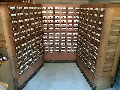 Solid Wood Antique 72 Drawer Library Card Catalog! Bro Dart Brass Wooden Drawers