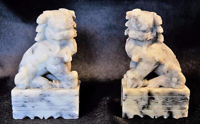 Antique~Pair of Shi~Foo Dog~Guardian Lion~Soapstone~Chinese~Bookends~