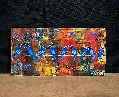 "BLUE BiRDs on WiRE~4""x 8""wood painting~KENO FOLK ART outsider~COASTWALKER~USA"