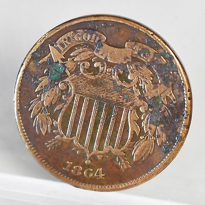 1864 Large Motto Two Cent Piece - VG Details (#6753)