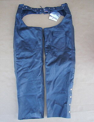 New NWT USA Bikers Dream Apparel Leather Motorcycle Chaps Size XL (C-325-XL)