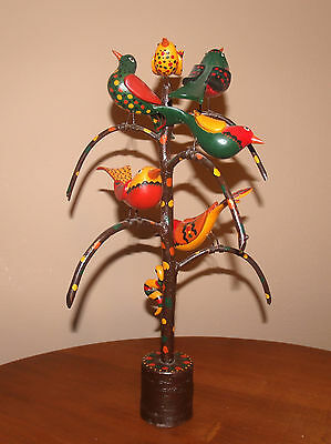 Don Noyes Modern Folk Art Carved Paint Decorated Bird Tree Wood Sculpture As Is