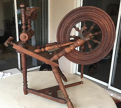 """Antique Spinning Wheel From Brittany France Circa 1840-1960 Wheel 18"""" Diameter"""
