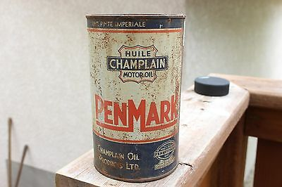 Vintage Champlain Oil Quart Can Metal Tin Old Early Gas Station Sign