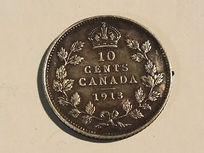 Vintage 1913 Canada George V Silver 10 Cents Coin With Patina - Ref - 372 0517