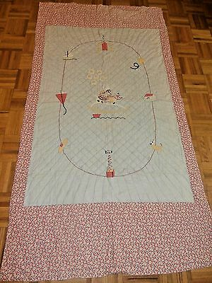 "Antique vintage Child's quilt 38"" x 69"" Cute Doll & Soldier on Rocking Horse"