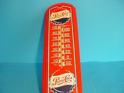 Vintage 1950's  Pepsi Cola Tin Sign with Working Thermometer