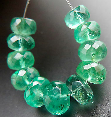 STUNNING GEM GRADE ZAMBIAN RICH VIBRANT GREEN EMERALD BEADS - LARGE- 10.75cts