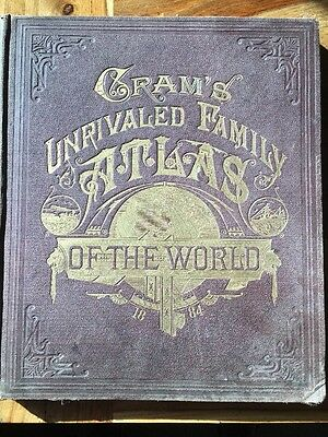 Cram's Unrivaled Family Atlas of the World, Indexed 1884 NICE