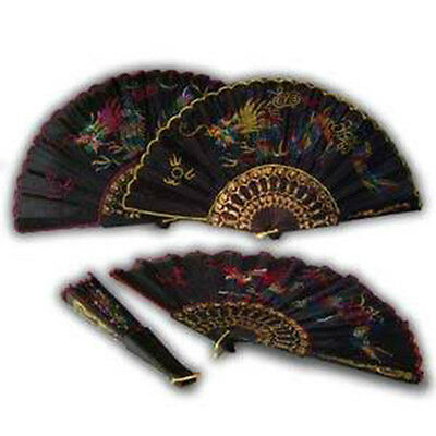New Hand Fan Black with Design Folding Held Dance Hand Fan Party Wedding Prom