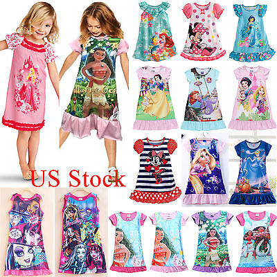 Girls Kid Toddler Cartoon Sleepwear Nightgown Pajamas Nightdress Summer Dress US