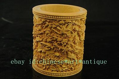 natural  Chinese box-wood  hand carved brush pot with the statue of Eight horses