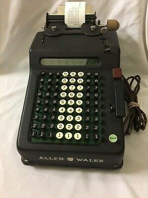 Vintage Allen Wales Electric Adding Machine 9E Works Great!