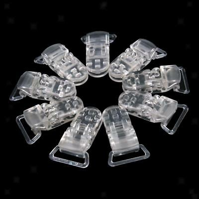 10pcs Plastic Clips Baby Soother Paci Dummy Bib Suspender Toy Holder Clear