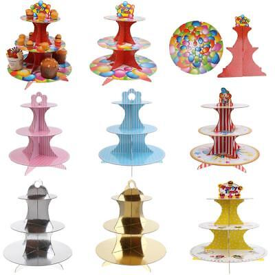 3 Tier Multi Styles Disposable Cardboard Cup Cake Stands Cake Food Holder