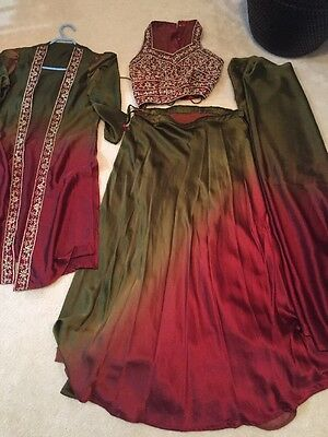 Indian Bollywood Vintage Ethnic Choli Lengha Red Green Embroidered 4 Piece