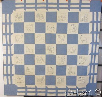 STUNNING Dated 1931 Blue Work FARM HOUSE Vintage QUILT Ruby Mckim