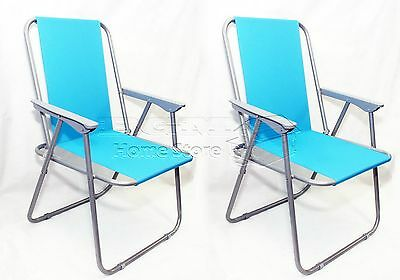2X Turquoise Blue Folding Beach Camping Fishing Chair Garden Outdoor Furniture