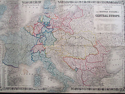 RARE 1866 Colton's Map Battle Fields of Central Europe LARGE HAND COLORED