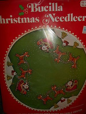 "Vintage NOS~BUCILLA~JEWELED 45""CHRISTMAS TREE SKIRT KIT~Santa Sleigh Reindeer"