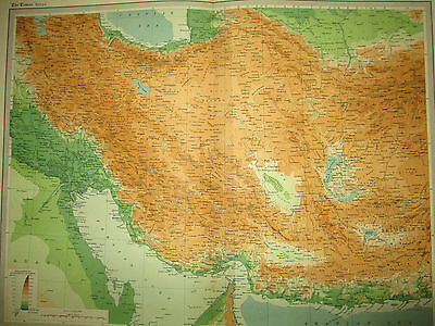 ORIGINAL 19th century ANTIQUE Map of Persia by John Bartholomew Times Atlas Big!