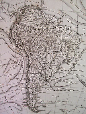 1850s ORIGINAL ANTIQUE Map of South America Ph. Weber J Baehr Vtg